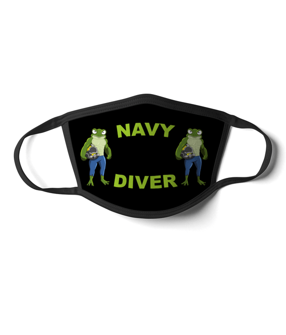 06 - Navy Diver - Angry Frog - Black Background - Divers Gifts