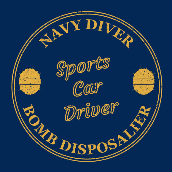 07 - Navy Diver - Sports Car Driver - T-Shirt (Printed Front and Back) - Divers Gifts