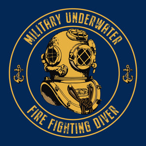 25 - Military Underwater Fire Fighting Diver - T-Shirt v2 (Printed Front and Rear) - Divers Gifts & Collectables