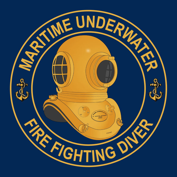 26 - Maritime Underwater Fire Fighting Diver - T-Shirt (Printed Front and Back) - Divers Gifts