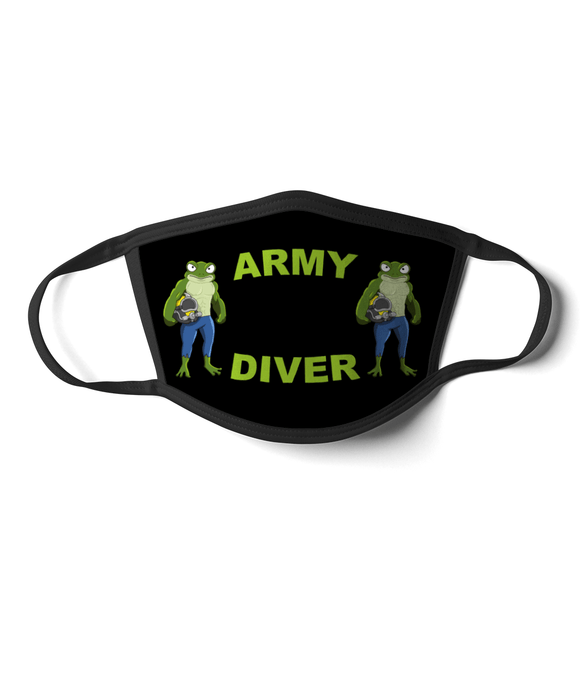 09 - Army Diver - Angry Frog - Black Background - Divers Gifts