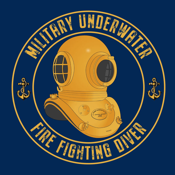 27 - Military Underwater Fire Fighting Diver - T-Shirt (Printed Front and Back) - Divers Gifts & Collectables