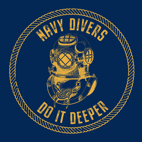 28 - Navy Divers Do It Deeper - T-Shirt (Printed Front and Back) - Divers Gifts