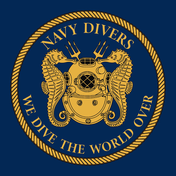 29 - We dive the World Over - T-Shirt (Printed Front and Back) - Divers Gifts
