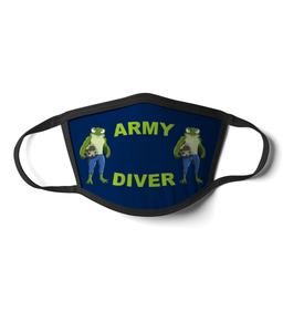 09 - Army Diver - Angry Frog - Blue Background - Divers Gifts