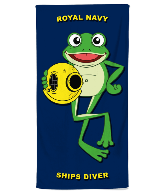 Happy Frog Royal Navy Ships Diver Beach Towel - Divers Gifts