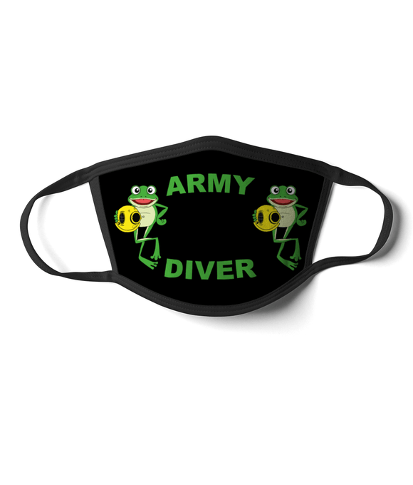 08 - Army Diver - Happy Frog - Black Background - Divers Gifts & Collectables