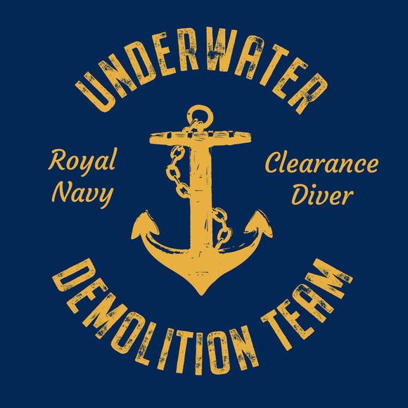 17 - UDT T-Shirt - Anchor Design (Printed Front and Back) - Divers Gifts