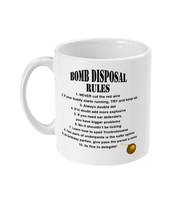 11oz Mug - Bomb Disposal Rules - Black Text - Divers Gifts & Collectables