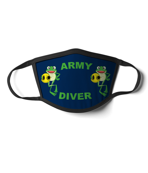 08 - Army Diver - Happy Frog - Blue Background - Divers Gifts