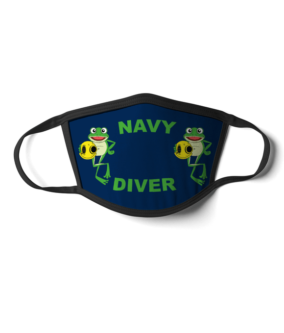 07 - Navy Diver - Happy Frog - Blue Background - Divers Gifts