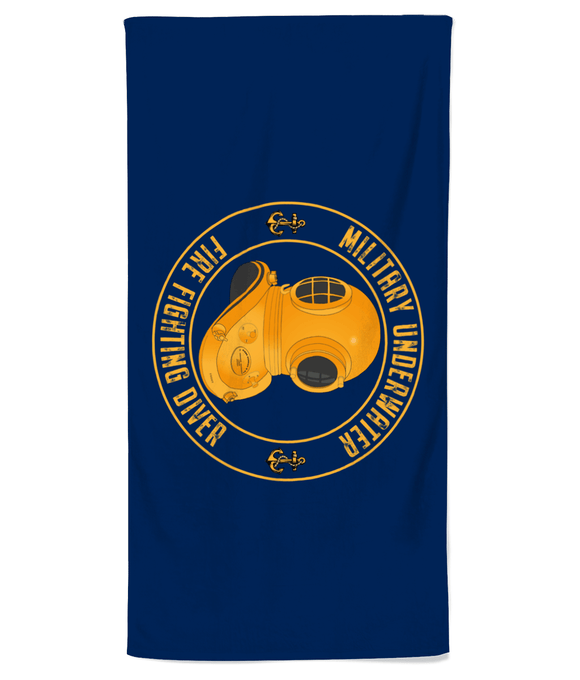 Beach Towel 27 - Military Underwater Fire Fighting Diver - Divers Gifts