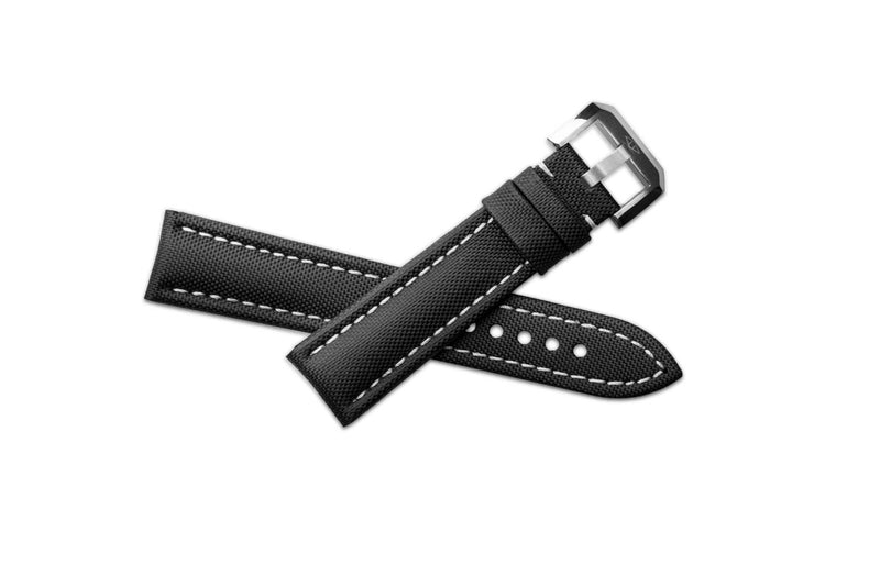 Artem sailcloth watch strap laid out on white background in crossed shape