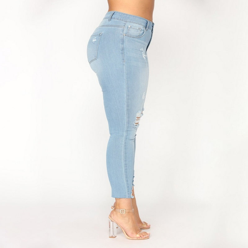 56c93863259 ... Load image into Gallery viewer, Women High Waist Jeans Hollow Out  Stretch Denim Pants Woman ...