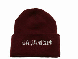 Burgundy live life in color skully