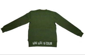 Olive live life in living color crew neck sweater