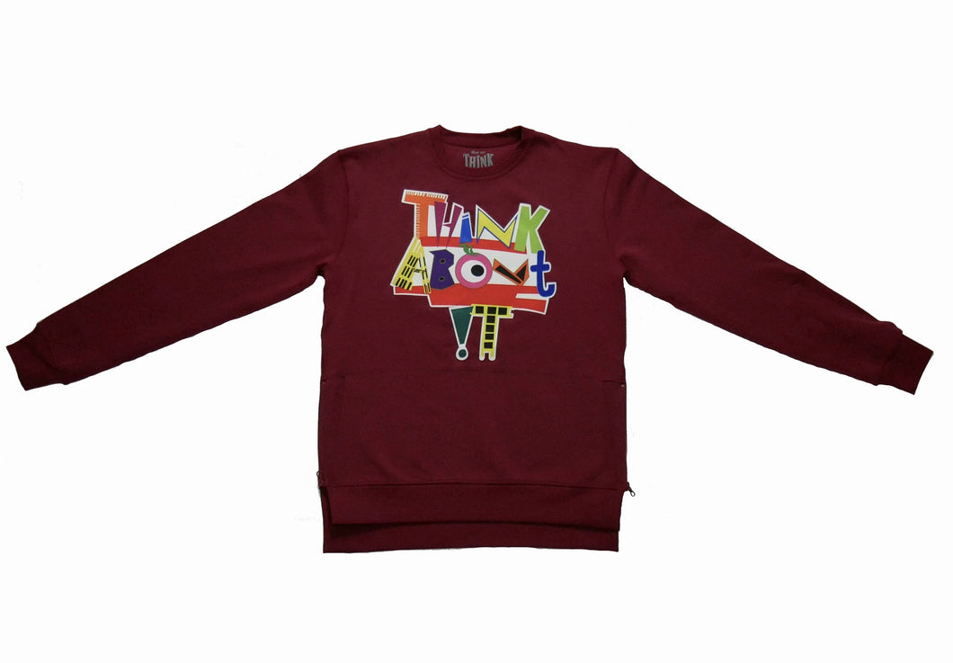 Burgundy live life in color crew neck sweater