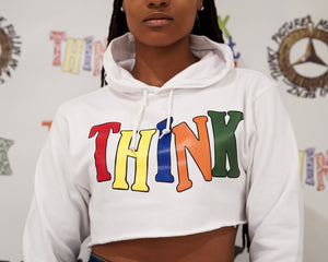 "Multicolor ""THINK"" Women's Crop Top Hoodies"