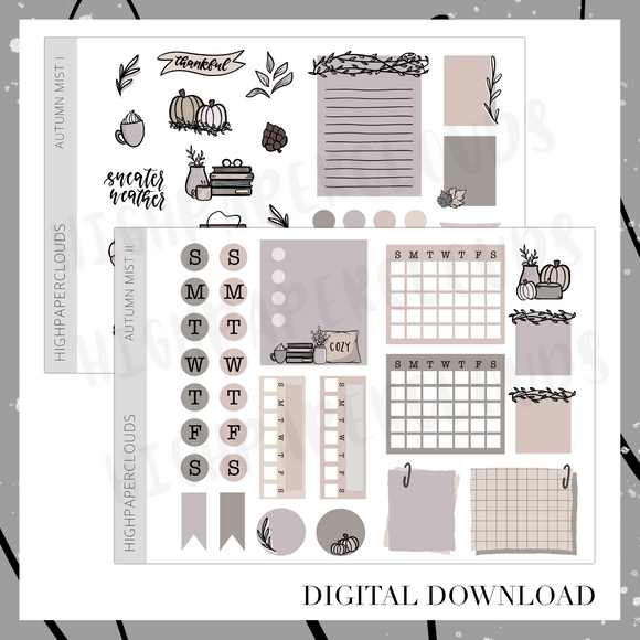 Autumn Mist - Digital Download Journaling Kit