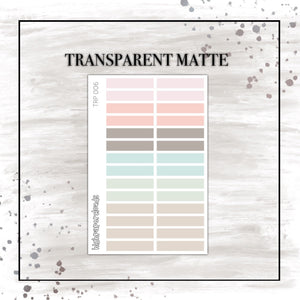pastel short strips - transparent matte sticker sheet