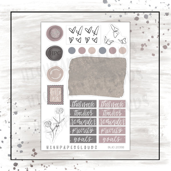 DUSTY ROSE Journaling Sticker Sheet
