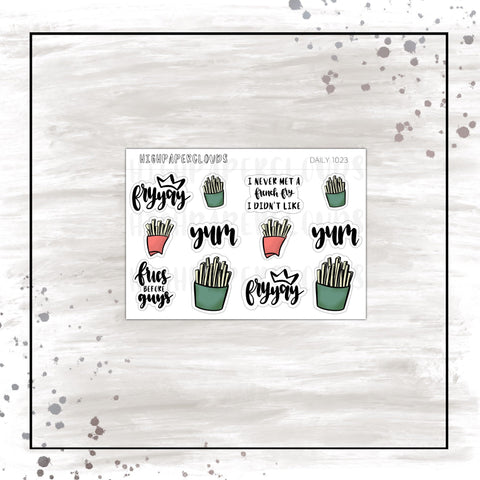 fries doodles & scripts planner stickers