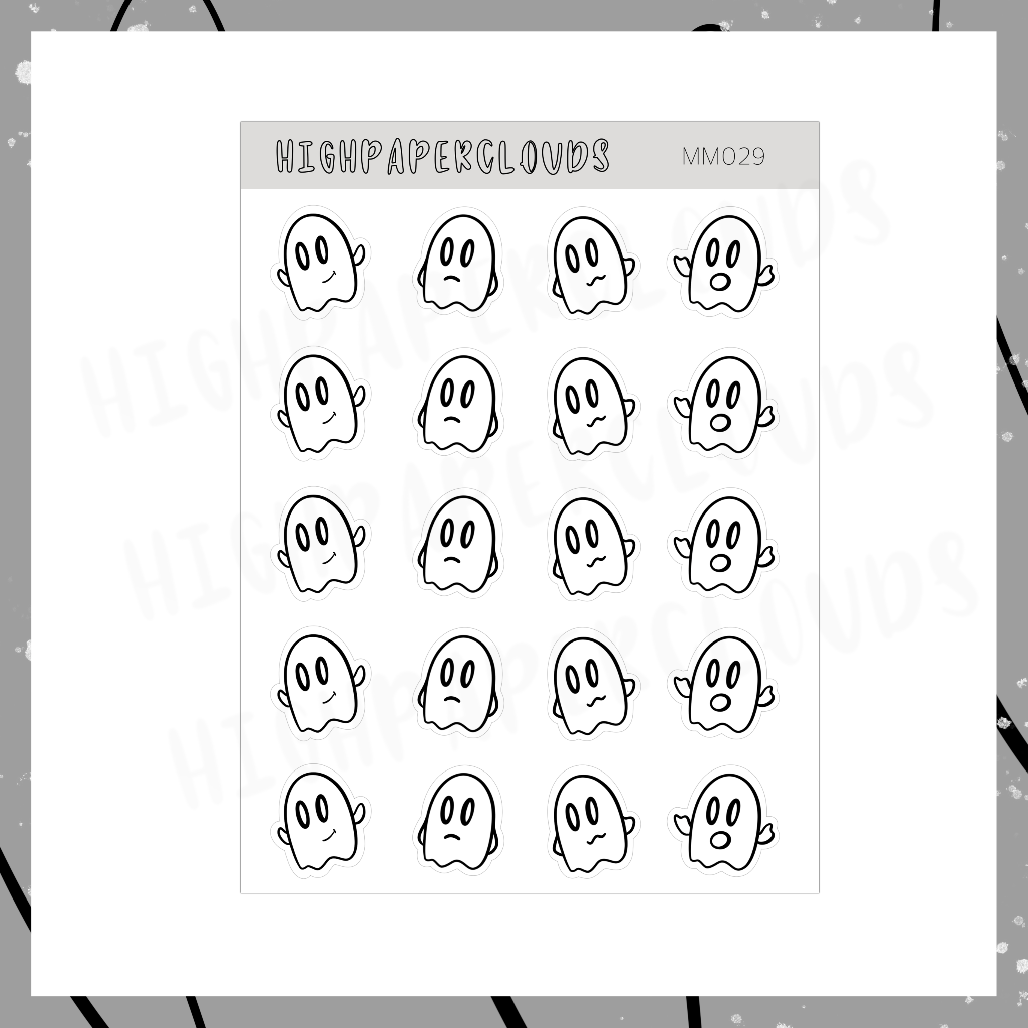 Mini Ghost Deco Sticker Sheet *1st Halloween Sticker Sheet (sneak)*