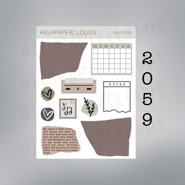Journaling Sticker Set - earth tones & paper scraps