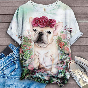 French Bulldog Floral Classic T-shirt 3