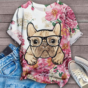 French Bulldog Floral Classic T-shirt 2