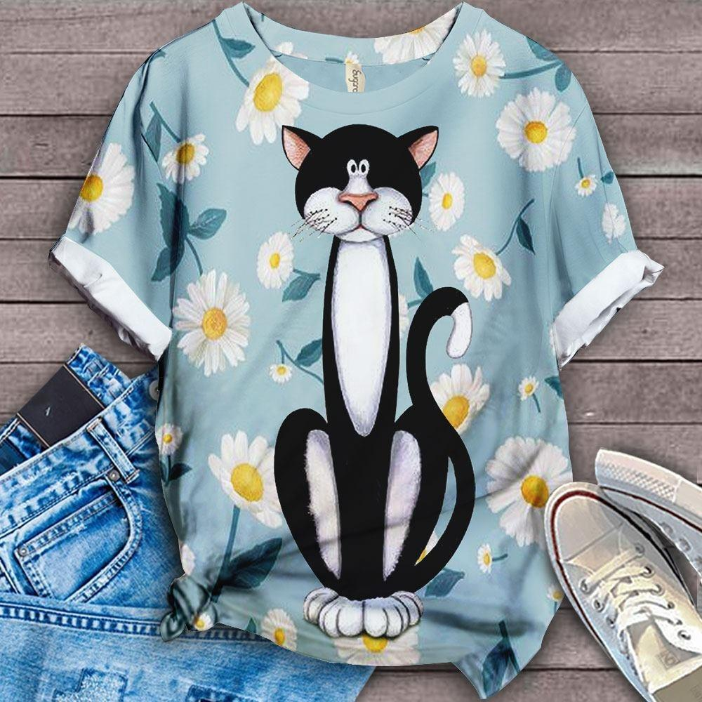 Cat Floral Love You T-Shirt 19