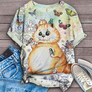 Cat with Butterfly Urban T-Shirt