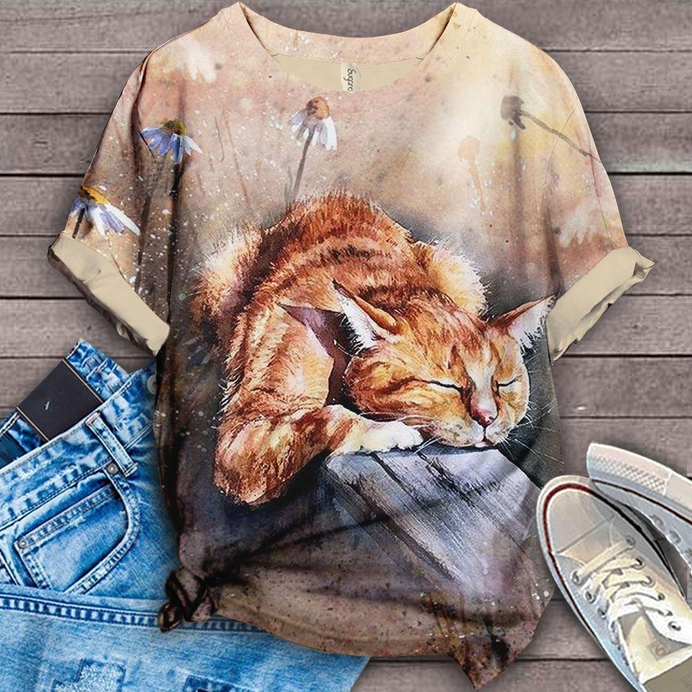 Lazy Cat with Sunshine T-Shirt