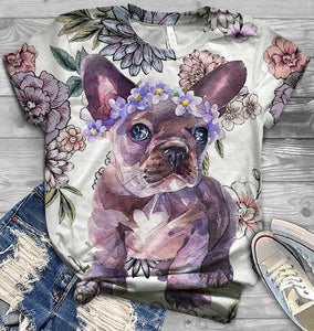 French Bulldog Floral Classic T-shirt