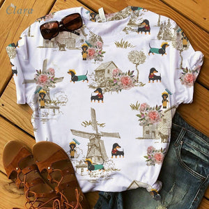 Dachshund T-shirt Farm Costumes Art