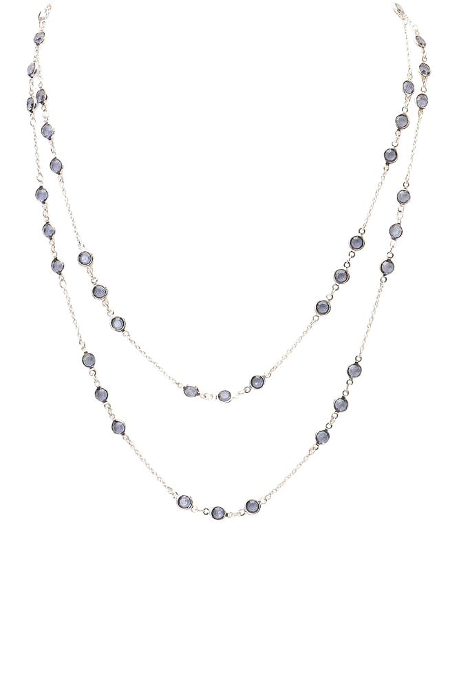ABS Allen Schwartz Crystal Long Chain Necklace JEWELRY ABS Allen Schwartz Silver