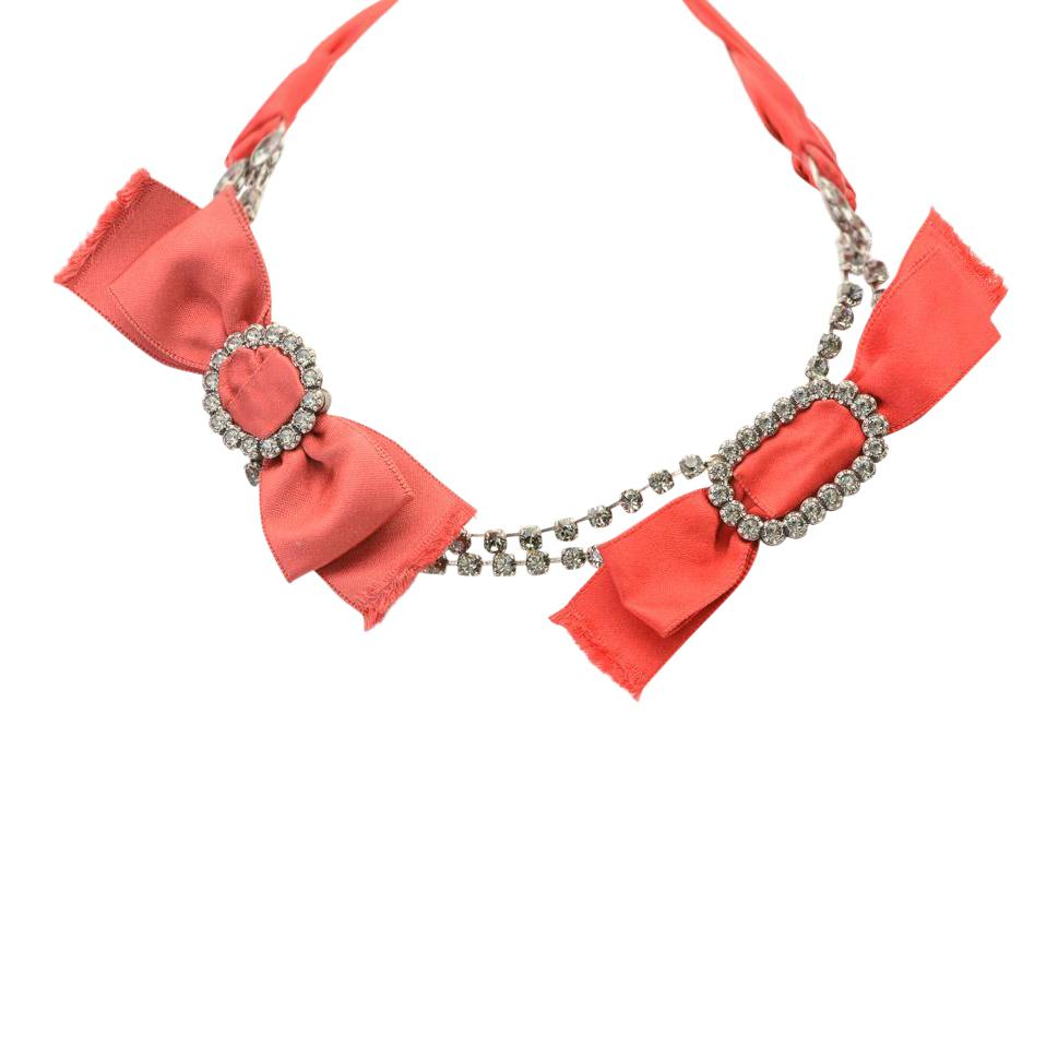 Lanvin Double Bow Statement Necklace JEWELRY Lanvin Red