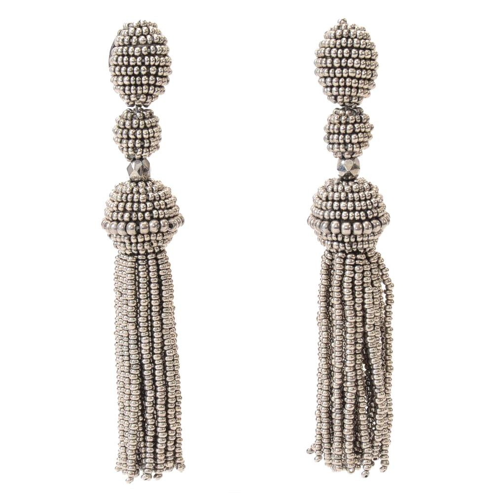 Oscar de la Renta Beaded Tassel Drop Earrings JEWELRY Oscar de la Renta Gray
