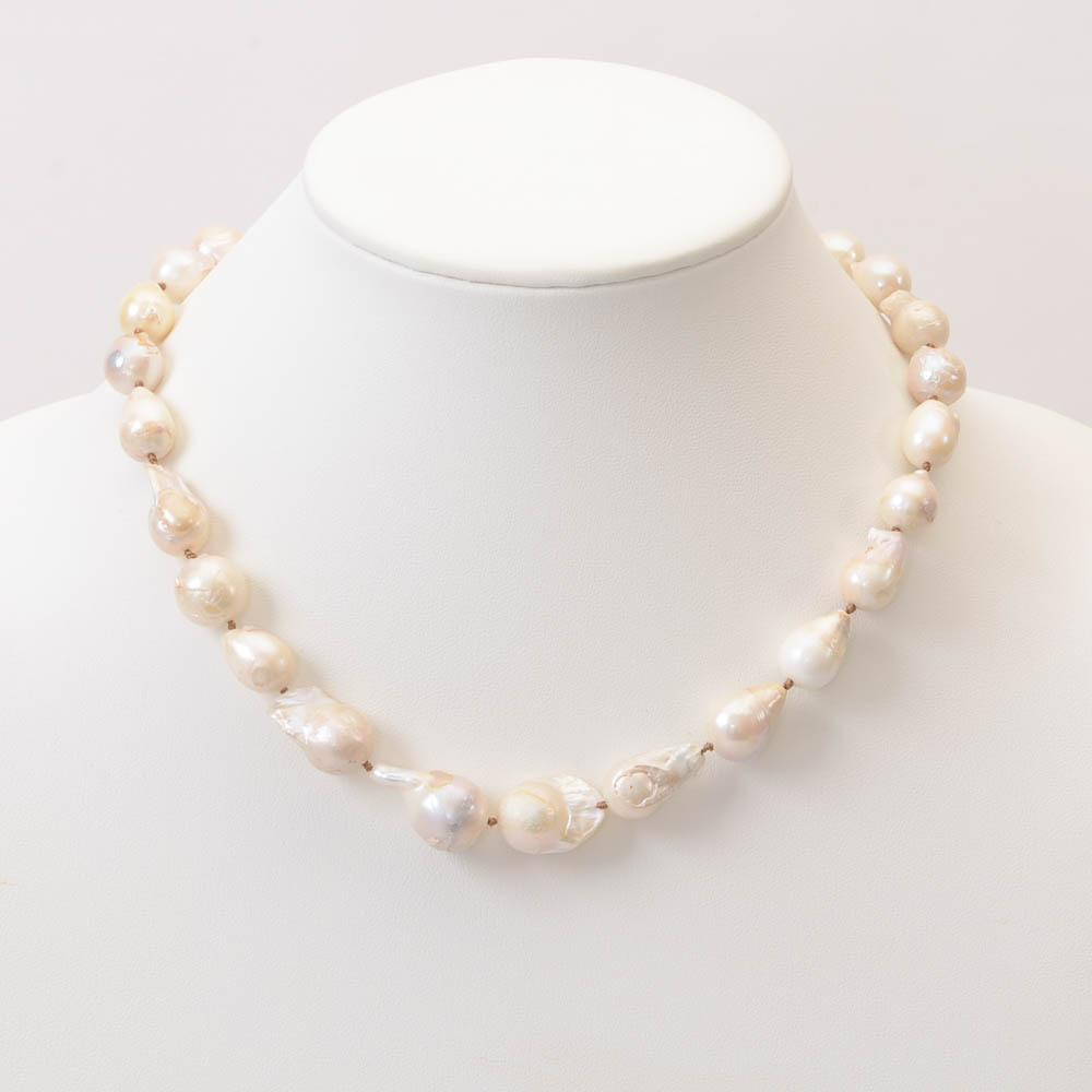 Kenneth Jay Lane Baroque Freshwater Pearl Necklace JEWELRY Kenneth Jay Lane White