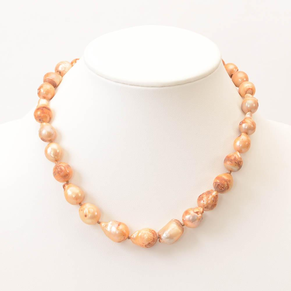 Kenneth Jay Lane Baroque Freshwater Pearl Necklace JEWELRY Kenneth Jay Lane Orange