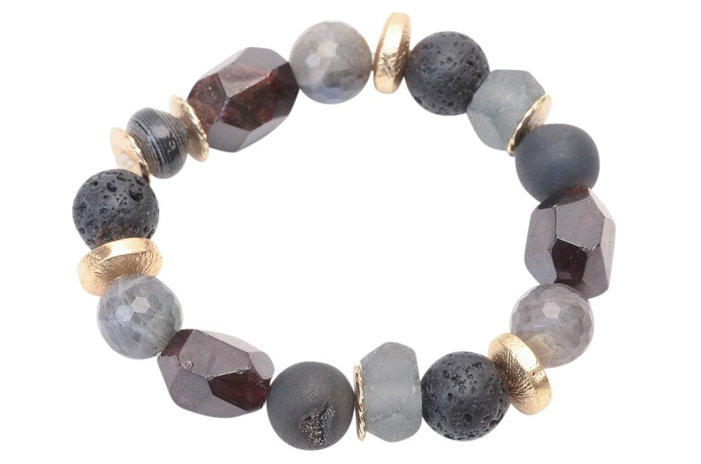 Akola Pica Beaded Bracelet JEWELRY Akola Gray