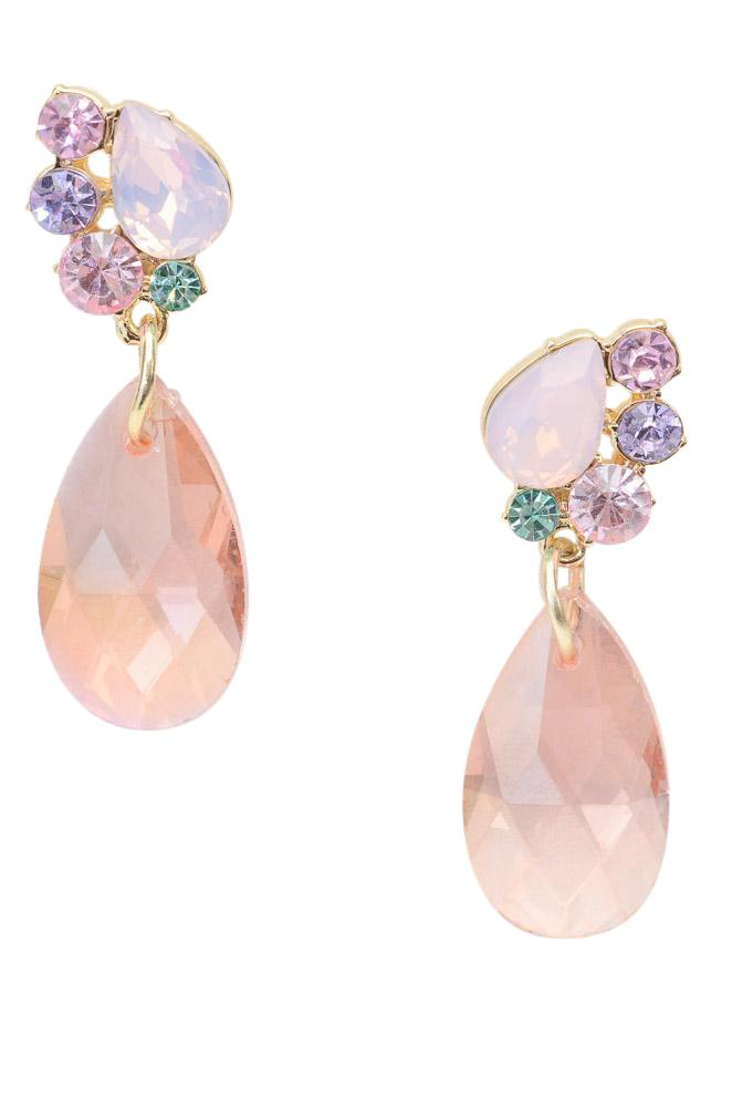 Carolee Gold Tone Pink Crystal Quartz Earrings JEWELRY Carolee Pink