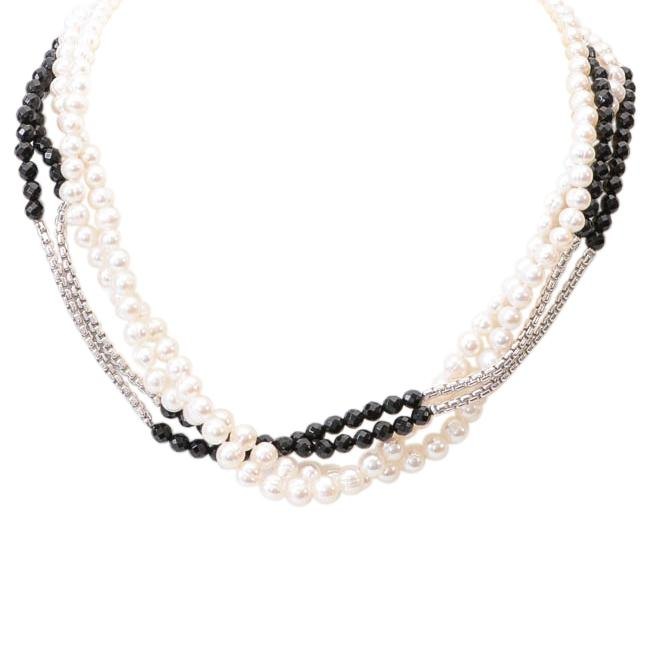 Horona Pearl Onyx Sterling Multi-Strand Collar Necklace JEWELRY Horona
