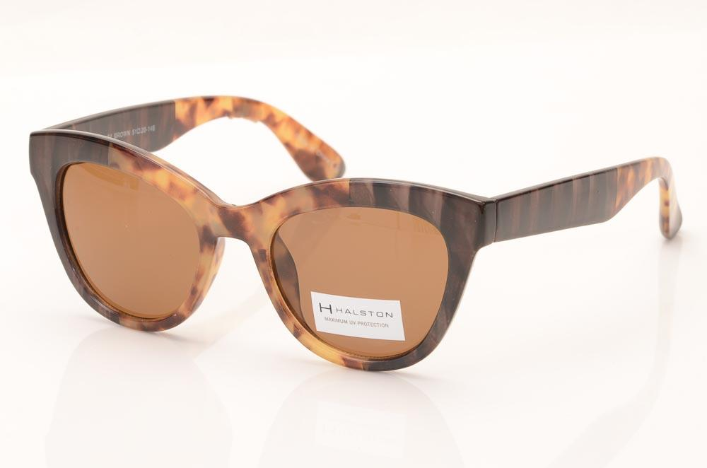 H Halston Heritage Round Cat's Eyes Frame Sunglasses ACCESSORIES H Halston Heritage 51-20-146 Brown