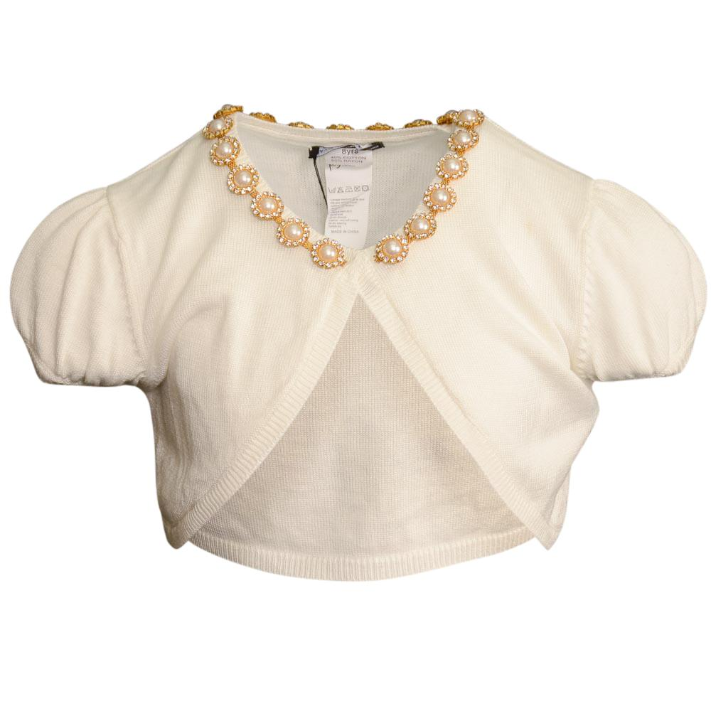 Girls' David Charles Short Sleeve Bolero Shrug - 8 APPAREL David Charles 8 Ivory