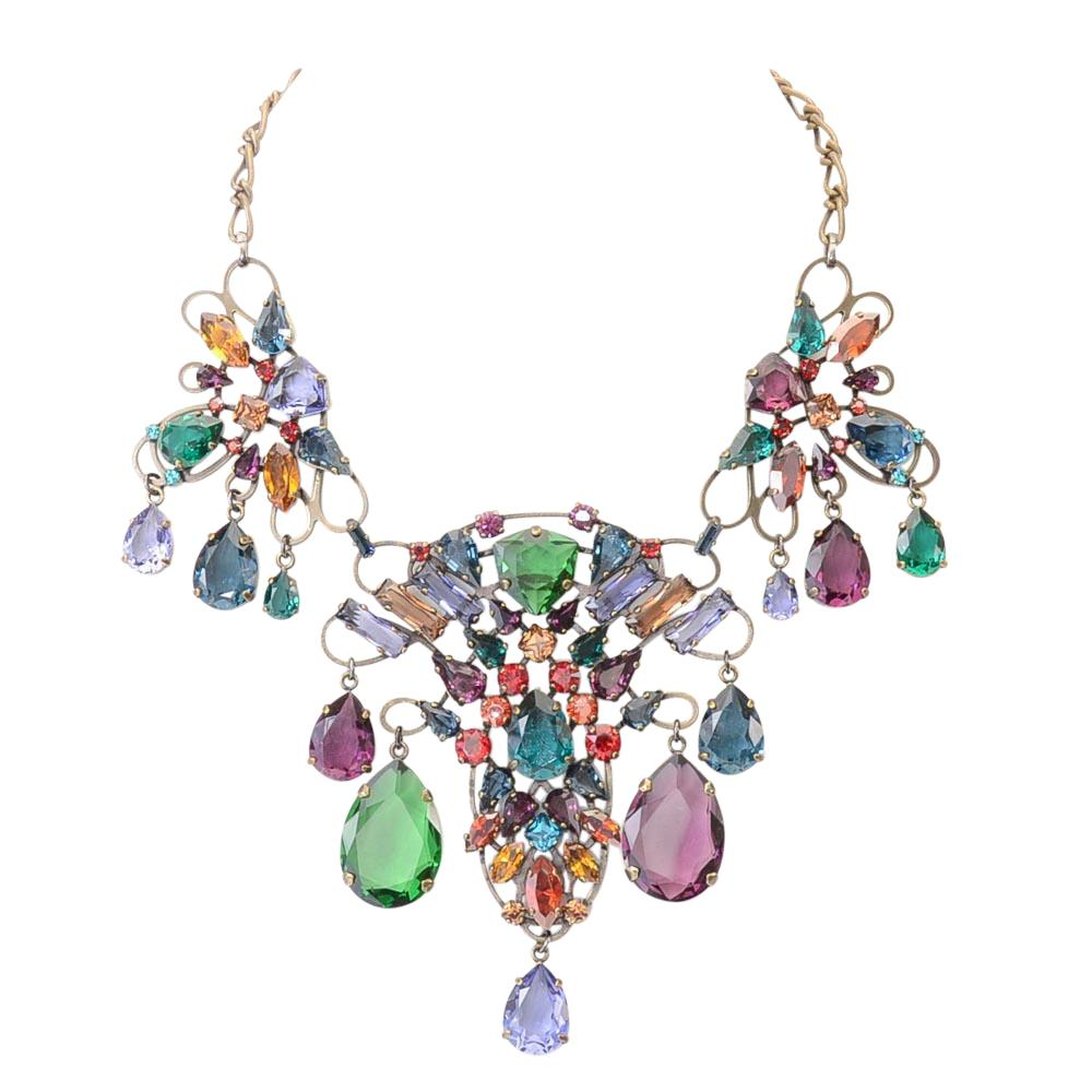 Lanvin Crystal Bib Necklace JEWELRY Lanvin Gold