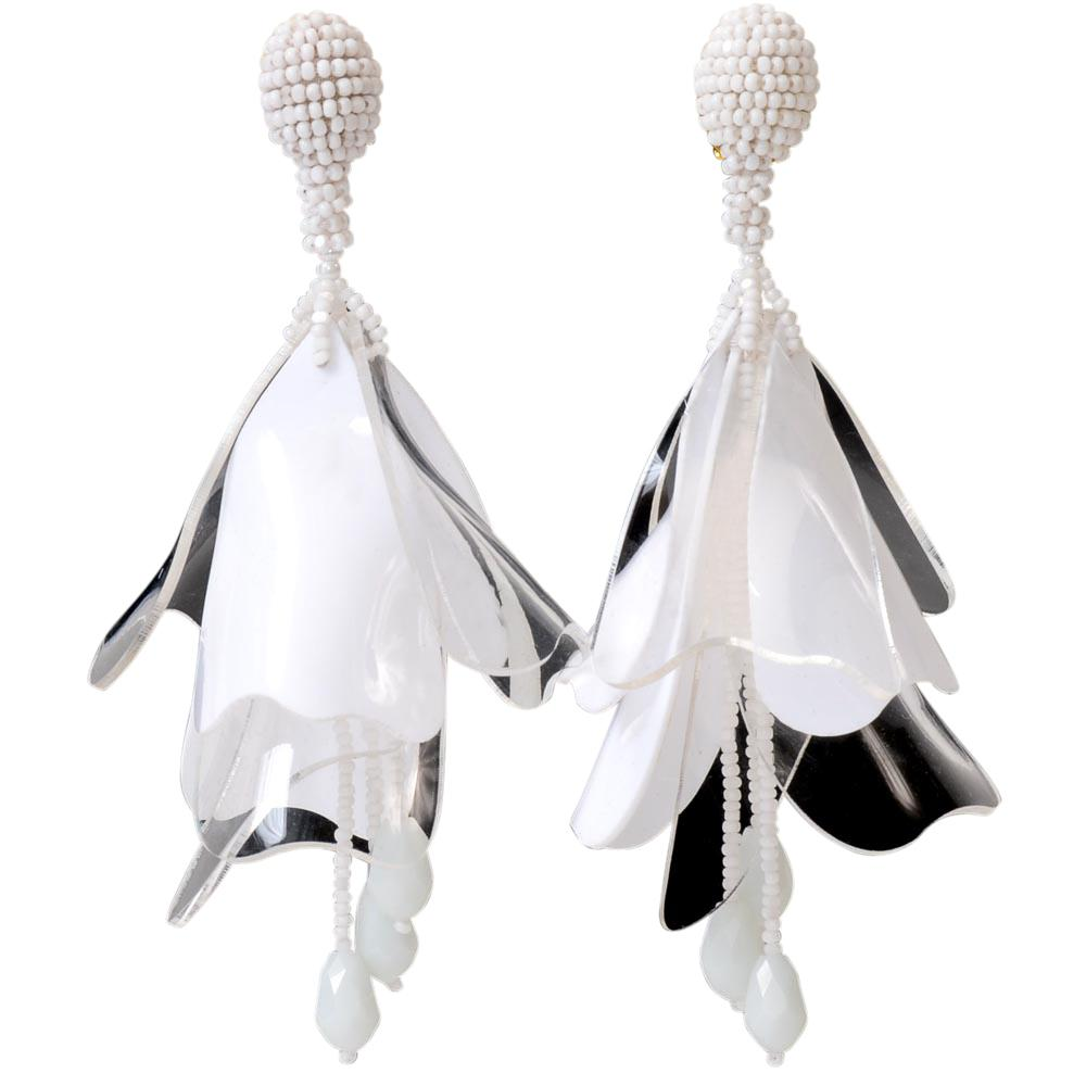 Oscar De La Renta Large Impatiens Dangle Earrings JEWELRY Oscar De La Renta White/Clear