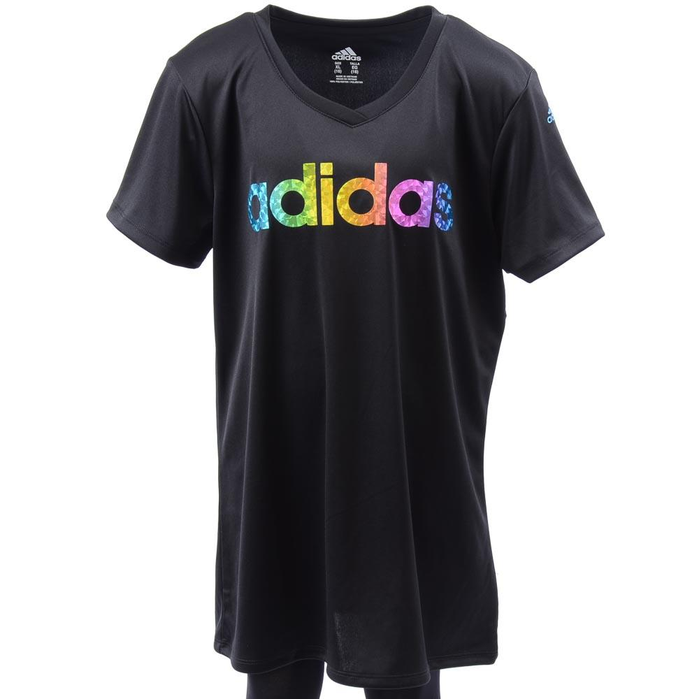 Girls' Adidas Short Sleeve Signature Graphic Top - XL APPAREL Adidas X-Large Black