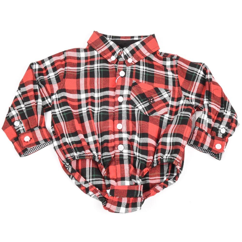 Boys' Andy & Evan Plaid Button Down Bodysuit Shirt APPAREL Andy & Evan 6-9 Months Red