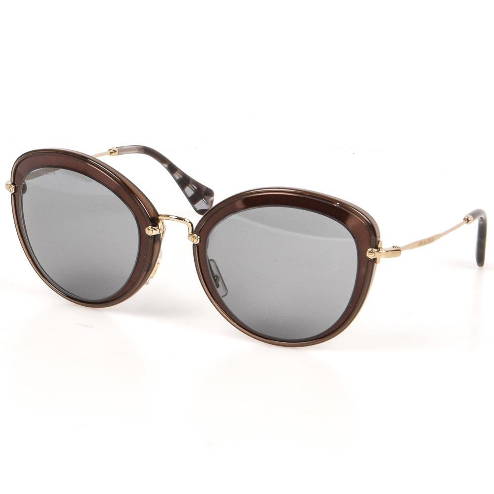 Miu Miu Oval Frame Sunglasses ACCESSORIES Miu Miu Brown